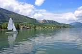 picture of annecy  - yacht sailing on Lake Annecy in France - JPG