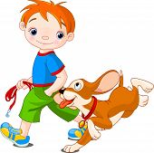 image of little boy  - Illustration of cute Boy walk the dog - JPG