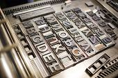 pic of time machine  - Old typography printing machine with font characters for craftman typography - JPG