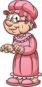 stock photo of grandma  - Cartoon grandma wearing pajamas - JPG