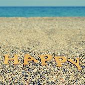 picture of shingles  - wooden letters forming the word happy on a shingle beach - JPG