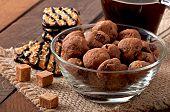 stock photo of baked raisin cookies  - Italian cookies Florentino with raisins and walnuts - JPG