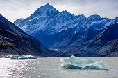 foto of hookers  - Hooker Glacier Lake in Aoraki National Park New Zealand - JPG
