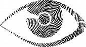 stock photo of dna fingerprinting  - a fingerprint designet eye modern symbol good quality - JPG