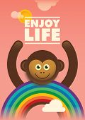 stock photo of chimp  - Poster design with comic monkey - JPG