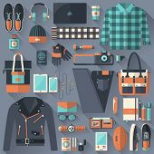 stock photo of knapsack  - Flat design concept vector illustration of every day carry and outfit accessories things tools devices essentials equipment objects items - JPG