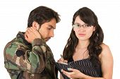 pic of soldier  - distraught military soldier veteran ptsd in therapy with psychologist isolated on white - JPG
