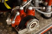 image of firefighter  - close up of new firefighters truck with firefighting equipment - JPG