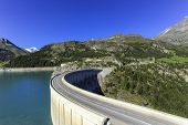 stock photo of hydro  - Hydro-electric Tignes dam by summer, Isere valley, Savoie, France
