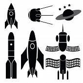 foto of starship  - illustration with space ships silhouettes on white background - JPG