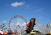 image of amusement park rides  - Amusement park rides on the boardwalk at the New Jersey shore - JPG