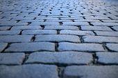 picture of cobblestone  - Grey cobblestone textured floor of Roman way in Paris in the evening  - JPG