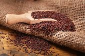 pic of sackcloth  - Mustard powder in wooden spoon on mustard seeds - JPG