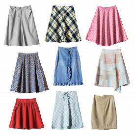 pic of jeans skirt  - Set of various midi skirts on white background - JPG