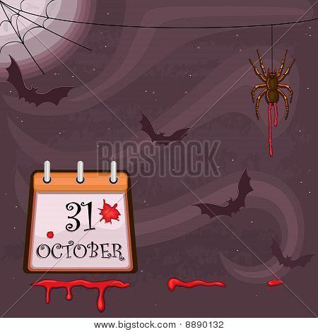Noite de Halloween com morcegos e aranha