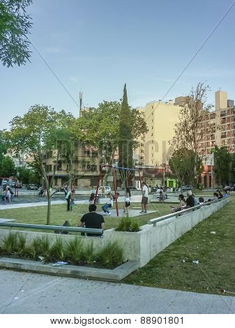 Crowded Square In Montevideo