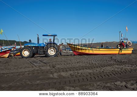 Tractor Pulling Fishing Boat