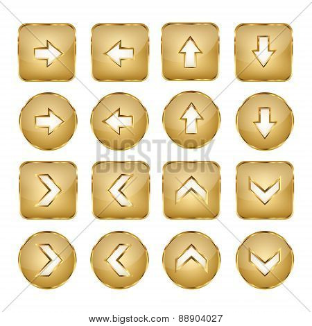 Elegant Golden Vector Web Buttons Arrows
