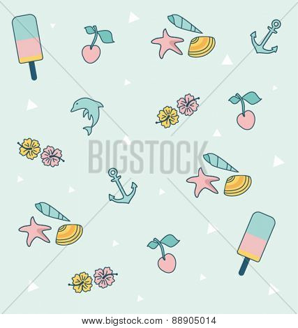 SUMMER ICONS PATTERN. Editable vector illustration file.