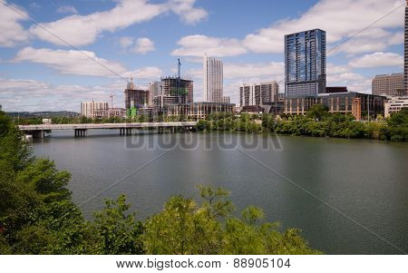 New Construction Building Highrise Office Towers Austin Texas Colorado River