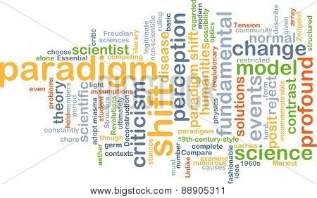 Background text pattern concept wordcloud illustration of paradigm shift