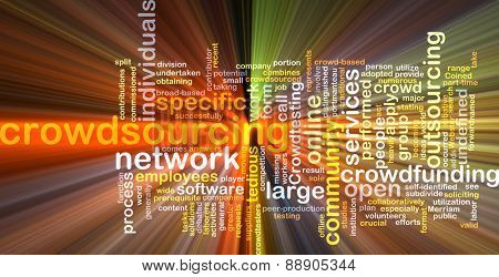 Background text pattern concept wordcloud illustration of crowdsourcing outsourcing glowing light