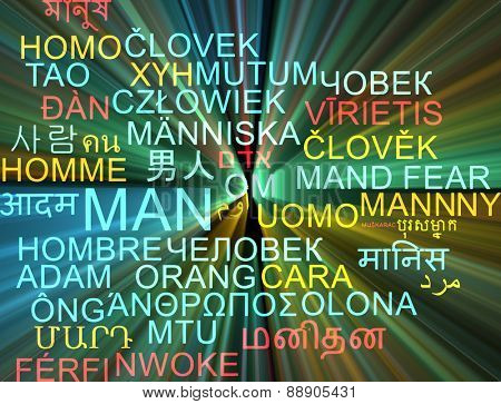 Background concept wordcloud multilanguage international many language illustration of man glowing light