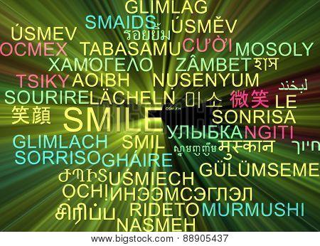 Background concept wordcloud multilanguage international many language illustration of smile glowing light