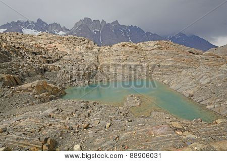Colorful Lake On A Glacial Nunatak