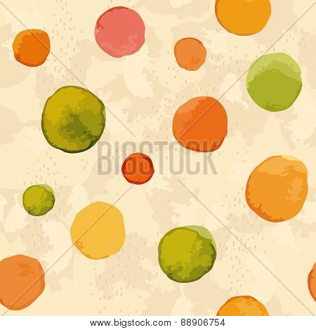Seamless pattern. Watercolor dots.