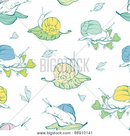 Vector lineart snails on leaves seamless pattern background