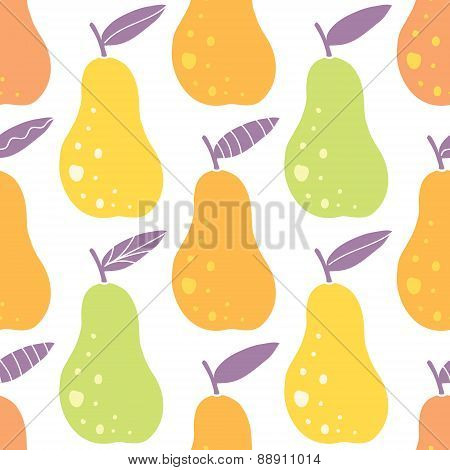 Vector yummy pears seamless pattern background