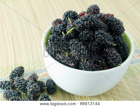 Fresh Ripe Mulberry In A White Bowl