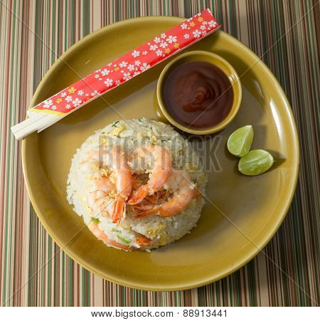 Delicious Shrimp Fried Rice on Brown Plate