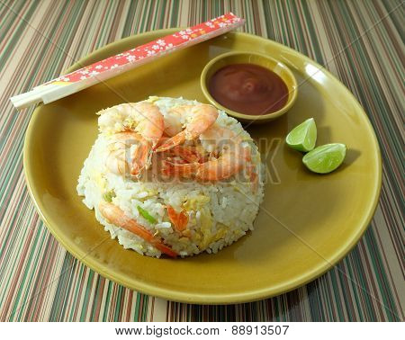 A Plate of Delicious Shrimp Fried Rice