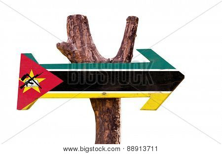 Mozambique Flag wooden sign isolated on white background