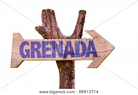 Grenada wooden sign isolated on white background