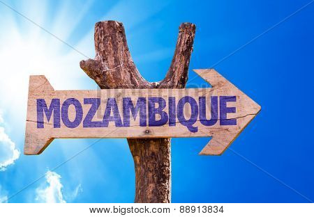 Mozambique wooden sign with sky background