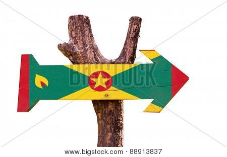 Grenada Flag wooden sign isolated on white background