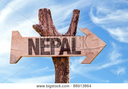 Nepal wooden sign with sky background