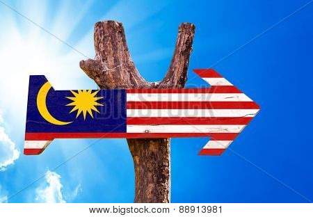 Malaysia Flag wooden sign with sky background