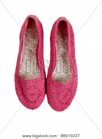 Causal Pink Lady Shoes On White Background