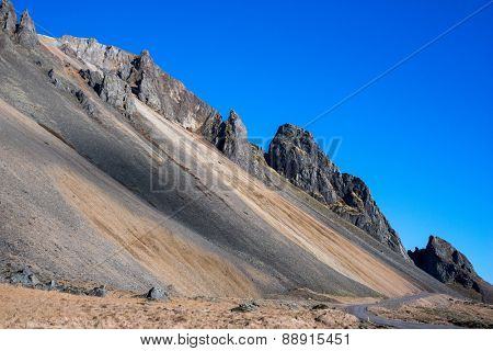 majestic peaks of the mountains in Stokksness, Iceland