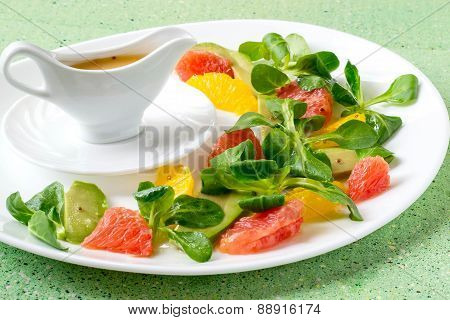 Salad Of Avocado, Orange, Grapefruit With Lamb's Lettuce