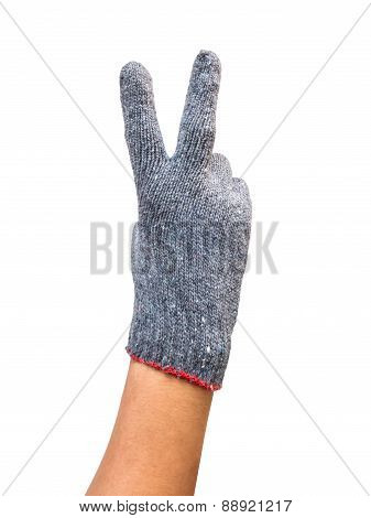 Hand With Glove Show Two Fingers Up In The Peace Isolated