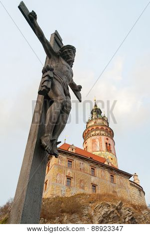 Jesus And Castle Of Cesky Krumlov, Czech Republic