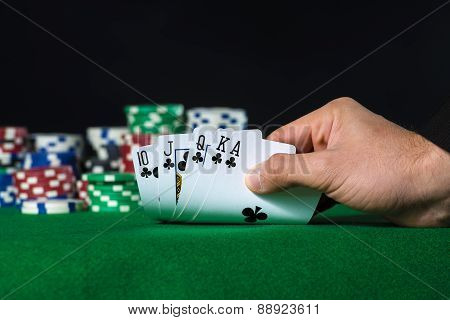 Royal Flush In Poker And Betting Chips