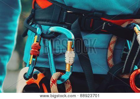 Close-up detail of rock climber