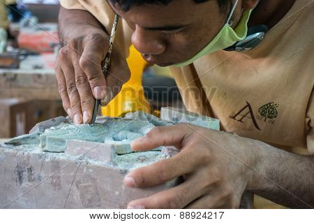Cambodian people making crafts