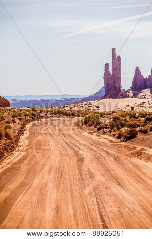 Descending Into Monument Valley At Utah  Arizona Border